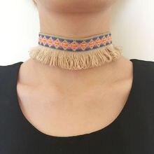 2017 mujeres multicolor cadena gothic choker collar étnico tribal fringe boho de la borla collar de bohemia colorido torques mujer nueva