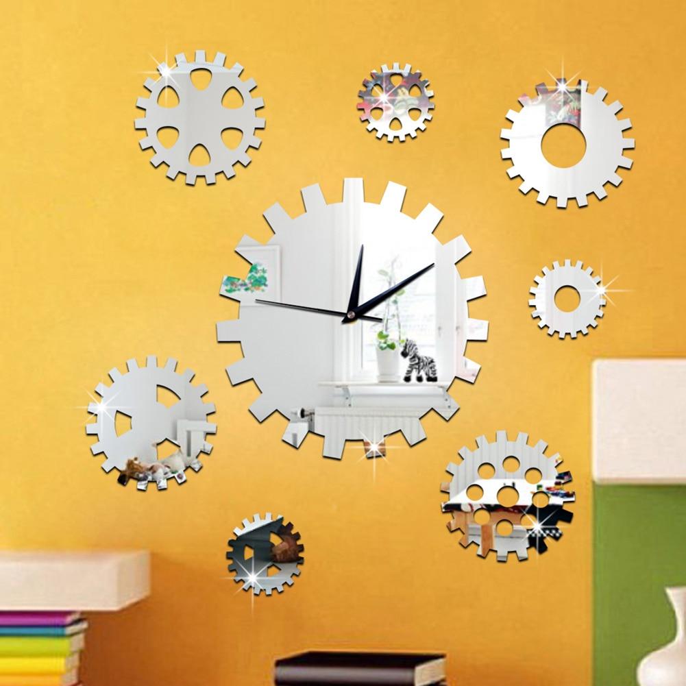 Hot Sale DIY Rotating Gear Decorative Wall Clock Wall Art Mirror ...