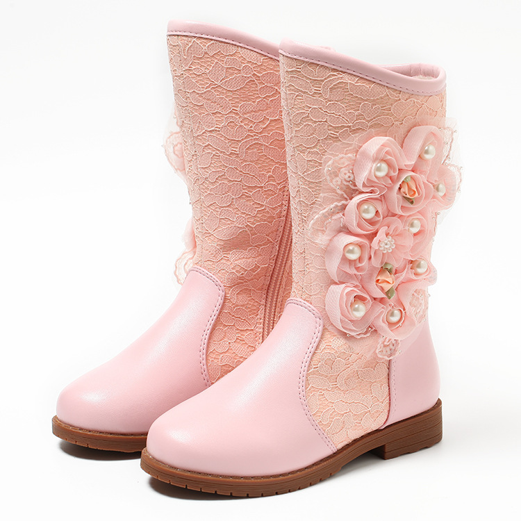 2017 New Fathions Girls Princess Winter Boots Leg Long Kids Snow Boots Soft Warm Children Shoes Pink&White Color with Plush new winter children snow boots boys girls boots warm plush lining kids winter shoes