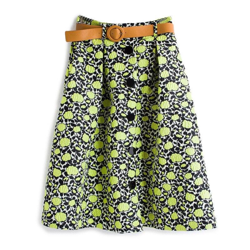 2017 européen haut de gamme femmes automne Winer all-match jupes Floral imprimé Jacquard Saias femme élégant mi longue jupe cadeau ceinture