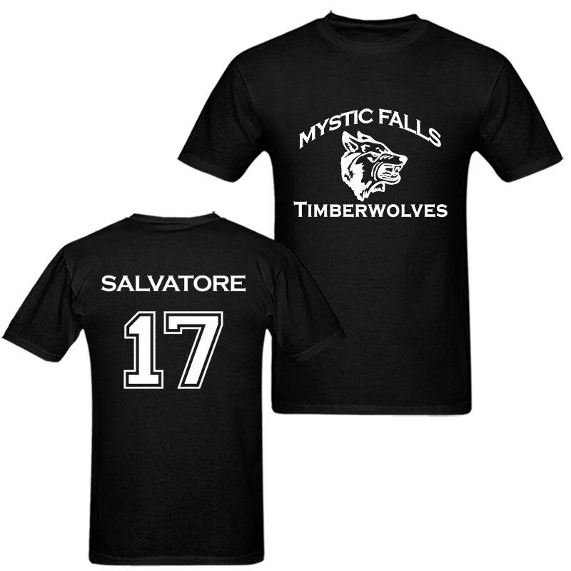 Для женщин Для мужчин хлопковая Футболка Мистик Фоллс Тимбервулвз вампира Дневники Salvatore 17 Печатных Футболка Harajuku топы; футболка футболки