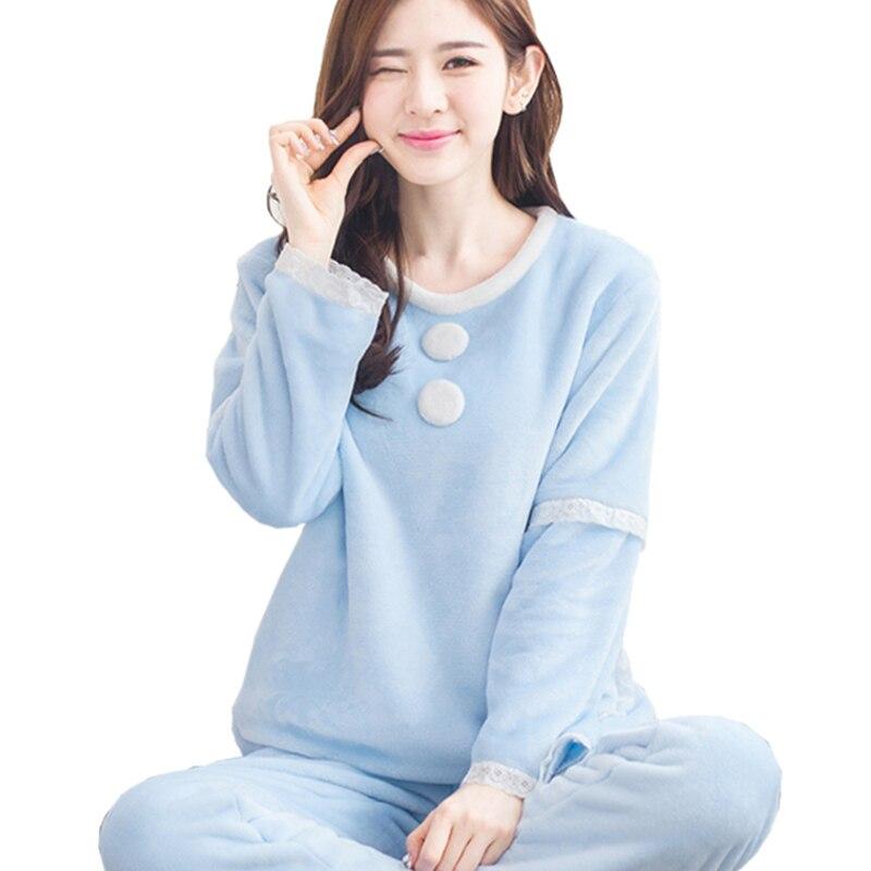 Girls sleep lounge home long sleeve o neck sweatshirts for Women s flannel sleep shirt