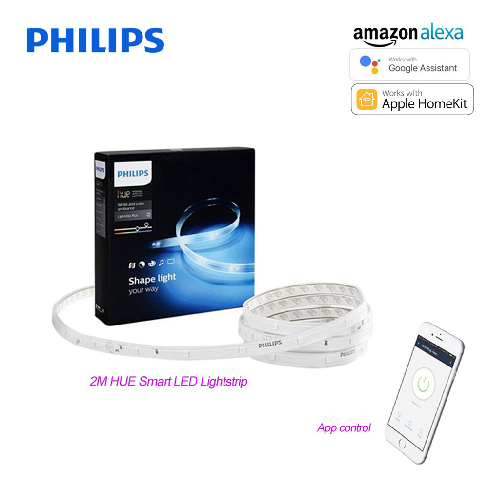 Philips Wireless Led Lights Us 177 74 Philips Hue Smart Led Lightstrip Plus 6w 100v 240v 2m Changing Color Led Strip Works With Alexa Apple Homekit Google Assistant In Led