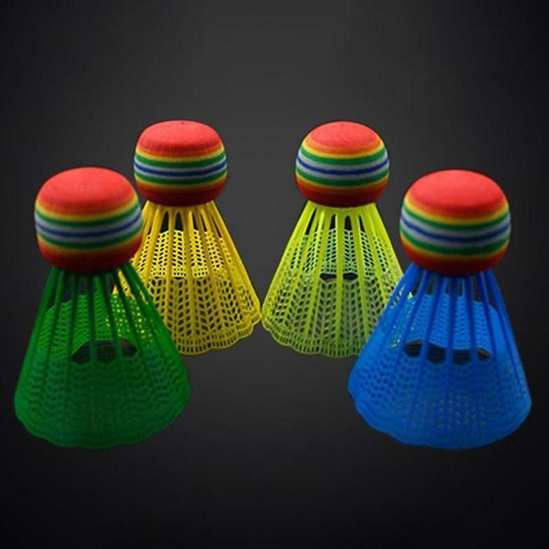 10 PCS Badminton EVA Rainbow Ball Head Nylon Badminton Feathers For Game Sport Entertainment With Transparent Barrel