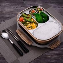 ONEUP нержавеющая сталь коробки для обедов Экологичные пшеничной соломы еда контейнер со столовыми принадлежностями Bento box с отделениями Microwavable