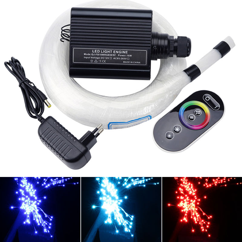 16W RGB Touch Remote LED Fiber Optic Star Ceiling Light Kits with 150pcs*0.75mm*2M Fiber Optic Cable