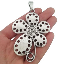 3 x Antique Silver Tone Large Spiral Swirl Flower Charms Pendants for Necklace Jewelry Making Findings 78x56mm