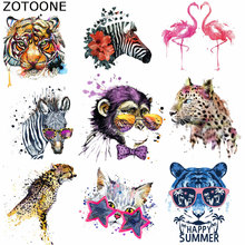 ZOTOONE Patches Pretty Watercolor Fashion Animal Iron on for Clothing Badges Cloth Washable Diy Accessory Heat Transfer