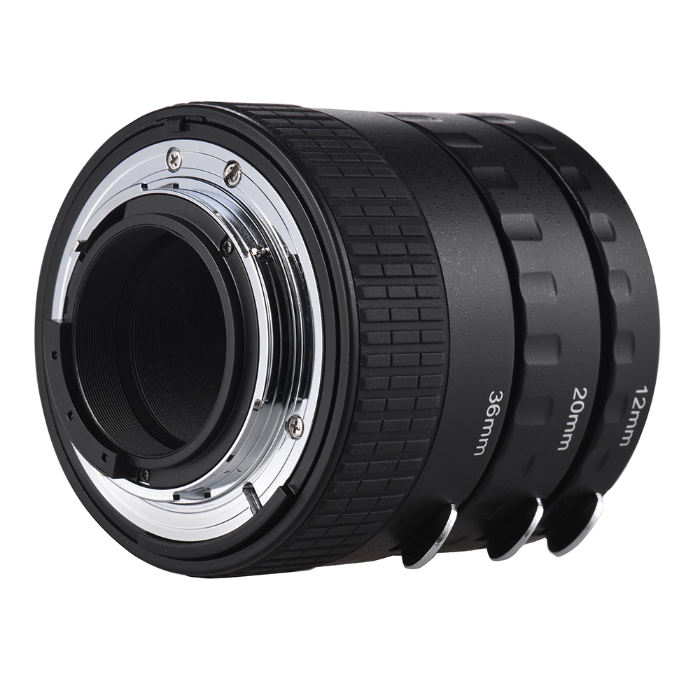Andoer Ring Lens Auto Focus Macro Extension Tube Set Copper AF Macro Lens Extension Tube Ring