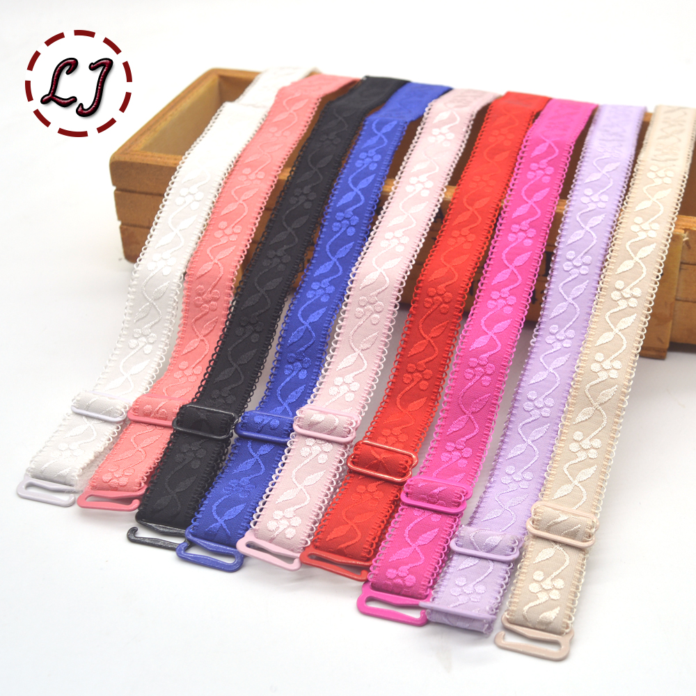 1 pair <font><b>15mm</b></font> width Metal <font><b>Buckle</b></font> Bra Straps Women's colorful Silicone Bra Straps lace side Adjustable Baldric Intimates Accessory image