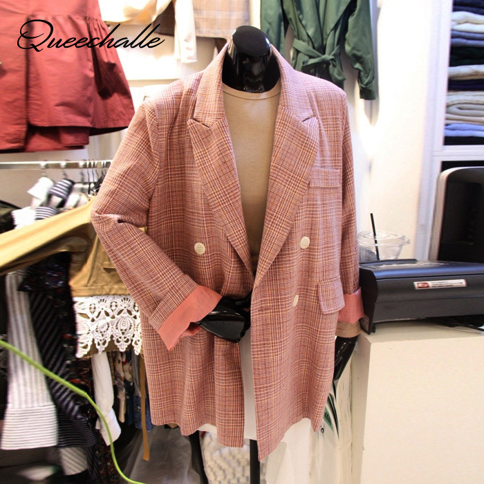 S XXL Pink Color Women Blazer Spring Autumn Notched Collar Office Lady Formal Blazer Coat Long