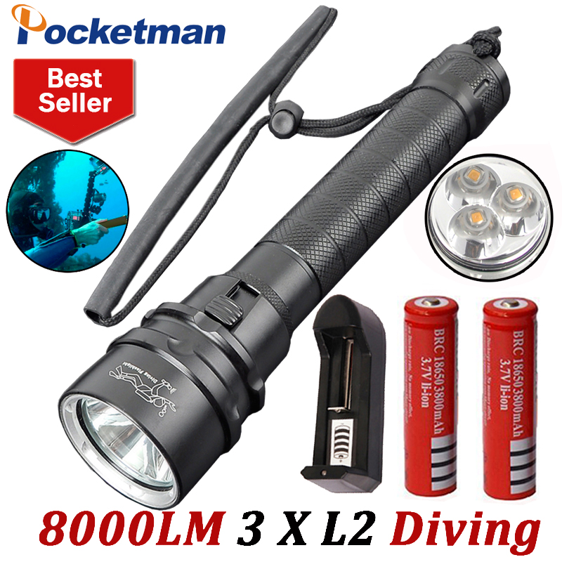 8000LM LED Scuba Diving Flashlight XM-L L2 Diver Lamp Torch Waterproof LED Lantern with 18650 battery X2 and charger
