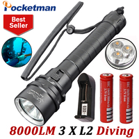 8000LM LED Scuba Diving Flashlight XM L L2 Diver Lamp Torch Waterproof LED Lantern with 18650 battery X2 and charger