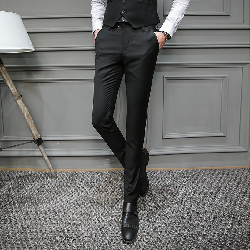 Mens Mans Suit Pants Man Self-cultivation Business Affairs Youth Directly Canister Pants Time Small Western-style Trousers
