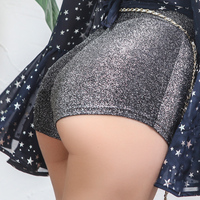 2018 Summer Stylish very Sexy Shorts Dazzle Shining Glitter Knitted Ultra Short Women Shorts Slim High Rise Stretch Waist