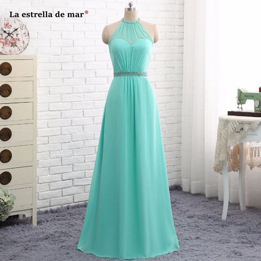 Wedding Guest Gown New Chiffon Crystal Back Open A Line Turquoise Bridesmaid Dress Long Vestido Madrinha Real Photo