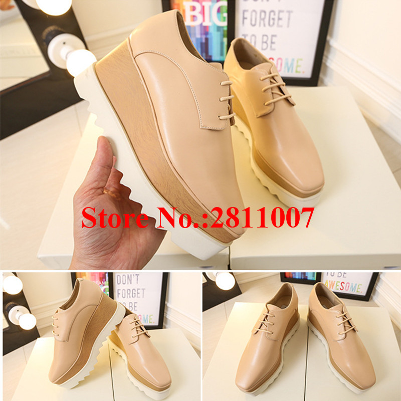 Chaussure Femme Soft Leather Mixed Color Platform Sapato FemininoWedges Women Derby Lace Up Casual Ankle Short Boots Shoes Woman