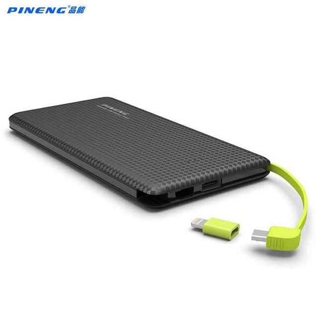 Original Pineng PN951 Power Bank 10000mAh USB Built-In Charging Cable External Battery Charger for iPhone6s Samsung Xiaomi