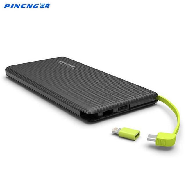 Оригинал Pineng PN951 Мощность Bank 10000 мАч USB Встроенный кабель для зарядки внешних Батарея Зарядное устройство для iPhone6s Samsung Xiaomi