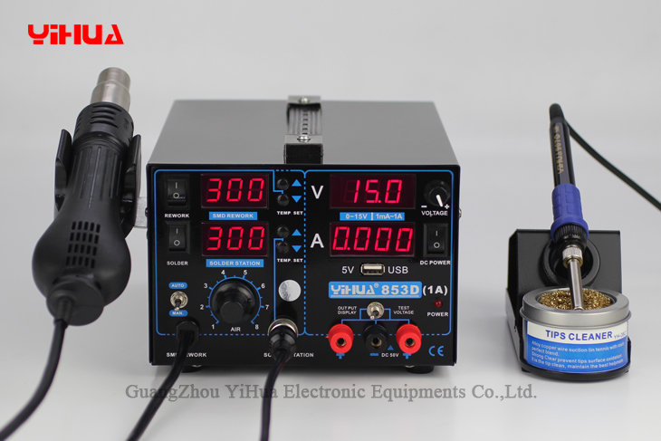 4PCS 853D 110V 220V USB Hot Air Gun Rework Station Soldering iron + Heat Gun +Power Supply Welding Repair Solder Station 853d 110v 220v usb hot air gun rework station soldering iron heat gun power supply welding repair solder station led light