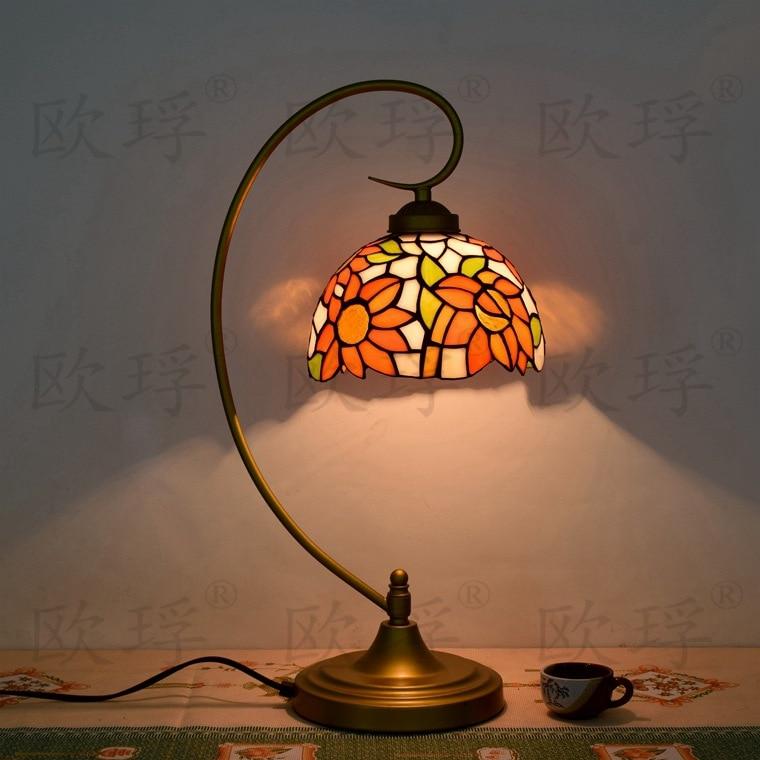 10 дюймов плоти страна цветы Тиффани настольные лампы страна Стиль пятнистости Стекло лампы для Спальня ночники E27 110- 240 В