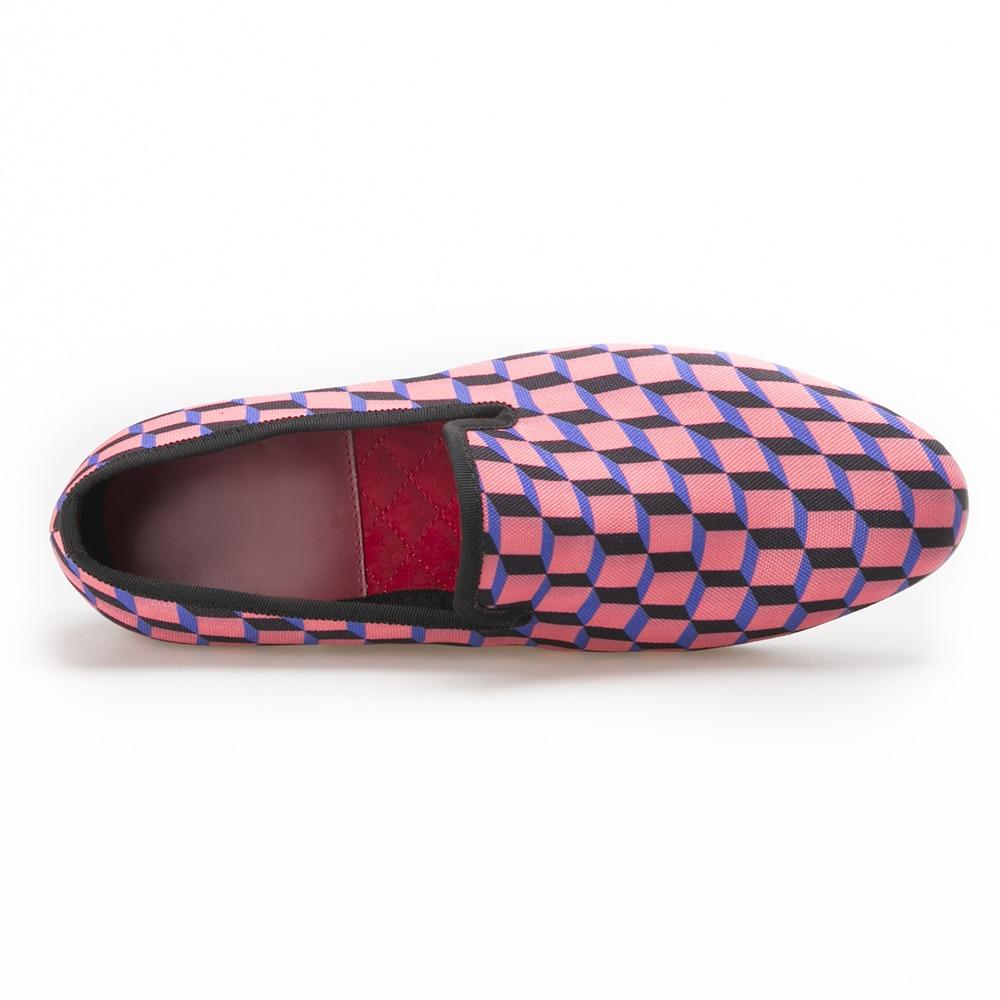 Multi Hochzeit Handcrafted Leinwand Druck Ankunft 3d Täglichen Casual Schuhe farben Für Blau Überprüfen Männer grau Loafer rosa wSd558Oqx