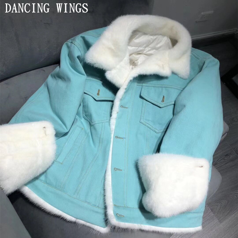 Streetwear Casual Parkas Winter Jacket Women Natural Real Mink Fur Collar Denim Duck   Down     Coat