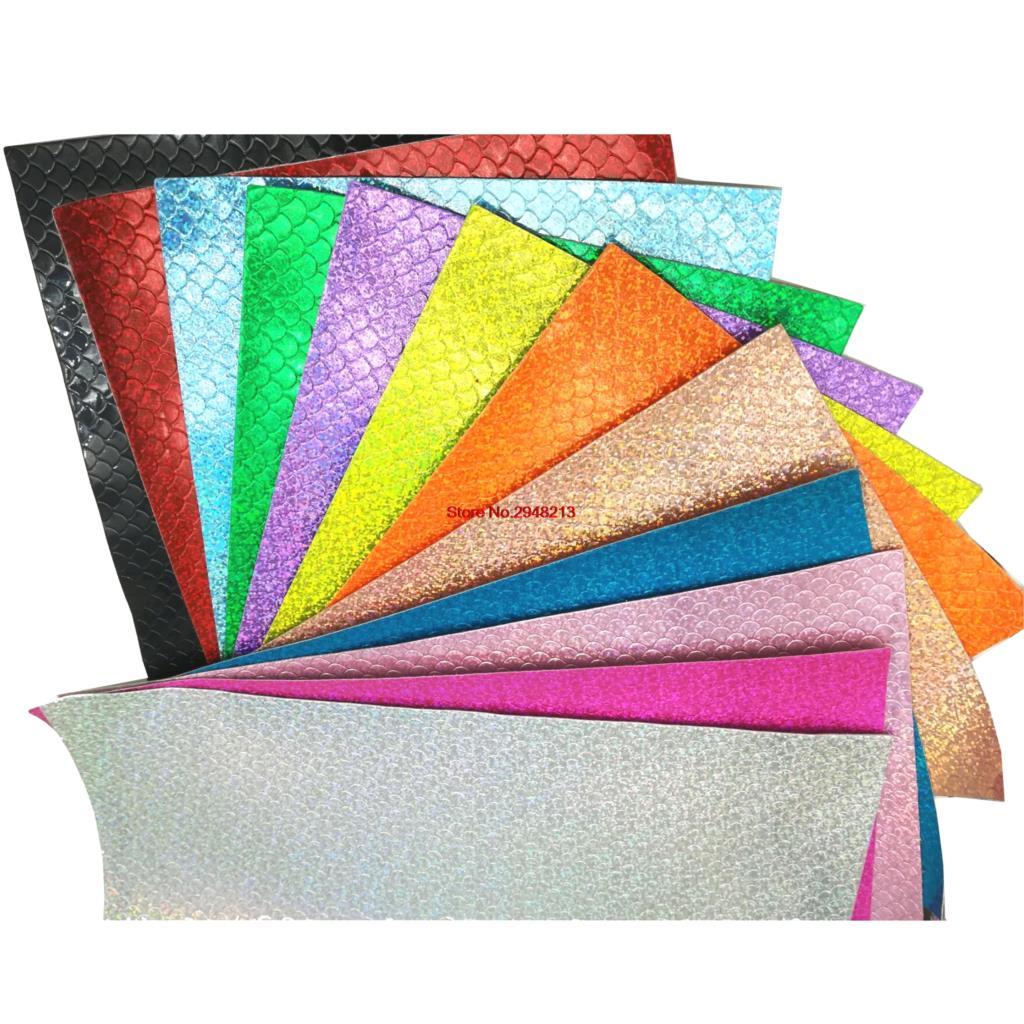 12 цветов Блеск рыбы Весы Синтетическая кожа ткань Vinly для День святого Валентина волос лук сумки 20 * см 34 см 10 шт./лот PJYL02