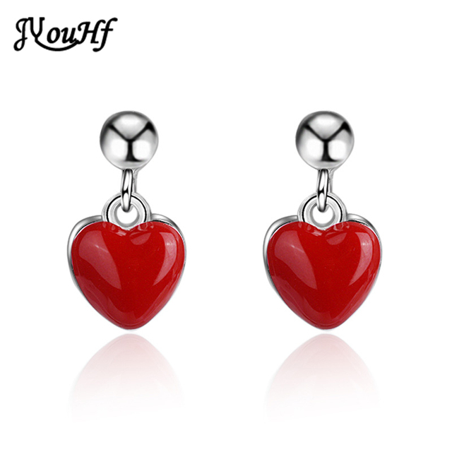 JYouHF Small Red Heart Love Stud Earrings for Girls Children Fashion Simple Epoxy Resin Silver Plated Earrings Jewelry Wholesale