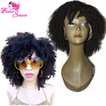 """14"""" 150Density Afro Kinky Curly Human Hair Lace Front Wig Virgin Peruvian Glueless Full Lace Human Hair Wigs For Women Jet Black"""
