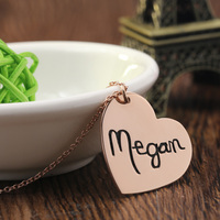 Promotion Love Hearts Silver Name Pendant Rose Golden Hebrew Custom Necklace 925 Sterling Silver Name Necklace