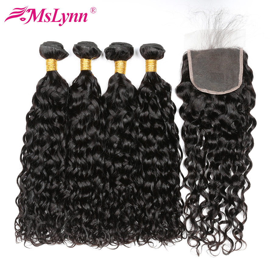 Human Hair Bundles With Closure Brazilian Hair Water Wave 4 Bundles With Closure Non Remy Hair Extension Mslynn Human Hair 5PCS