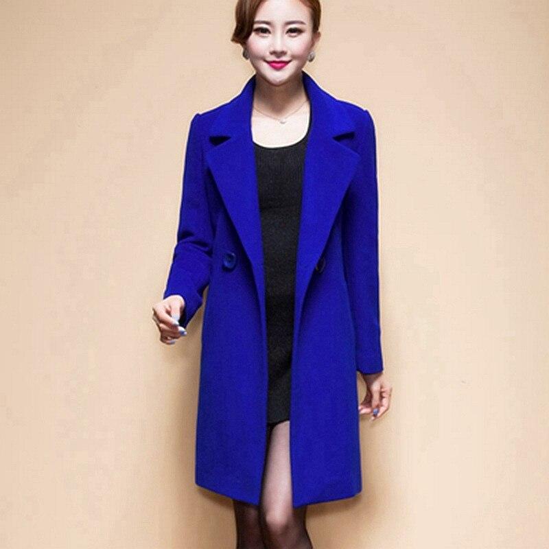 2018 Nouvelles Femmes De Mode De Laine Manteaux Élégant Jaune Rouge Noir Bleu Longue Mince Femelle Automne Hiver Veste Plus La Taille Outwear