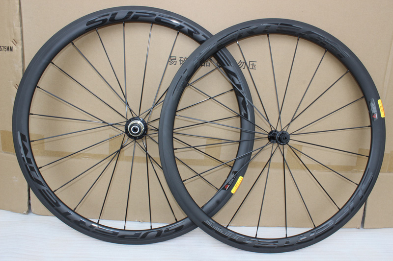 38mm bicycle carbon wheels 700C 23mm width R13 light hubs Road bike Black on Black 3K