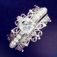 Jewelry Princess Crown Design 925 Silver Ring Sets For Women White Gold GF Wedding Engagement