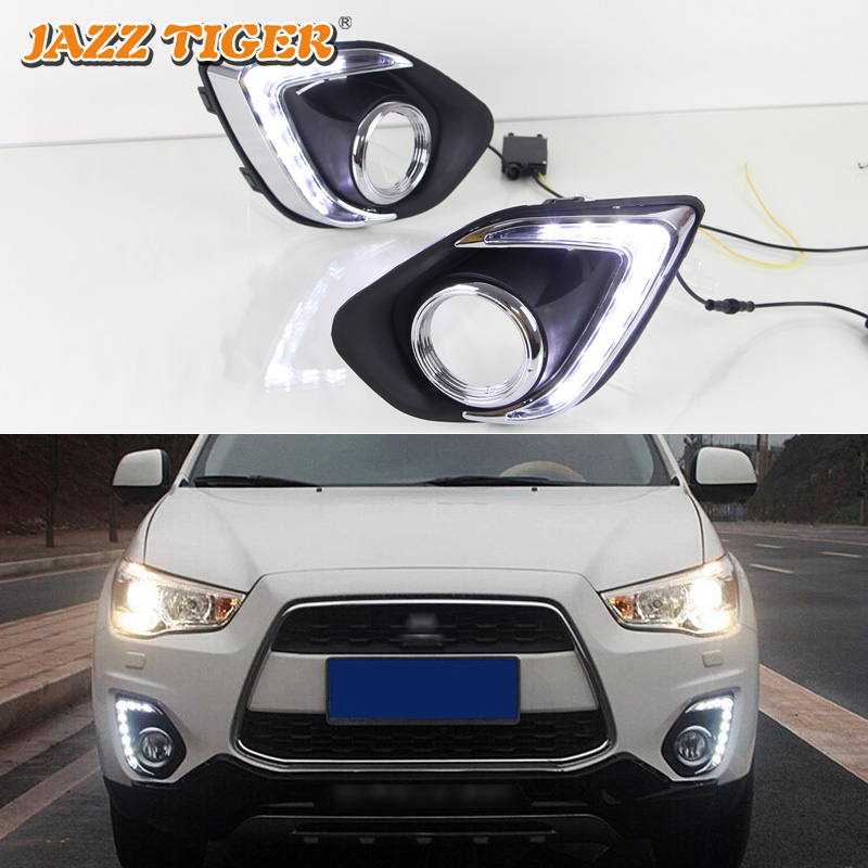 JAZZ TIGER 2PCS Yellow Turn Signal Function 12 Car Driving Lamp DRL LED Daytime Running Light For Mitsubishi ASX RVR 2013 - 2015 led drl day lights for mitsubishi asx 2013 2014 2015 daytime running light driving fog run lamp with yellow turn signal