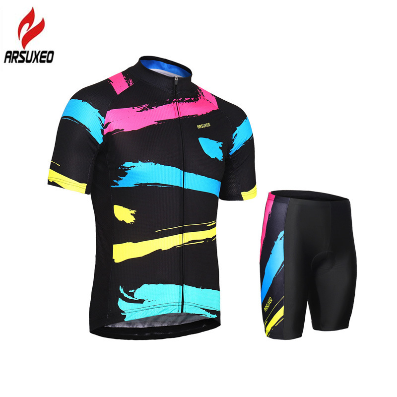 ARSUXEO 2018 Summer Men Women 39 s Cycling Clothing Set Breathable Short Sleeve Cycling Jersey Sets Riding Bike Bicycle MTB Suit in Cycling Sets from Sports amp Entertainment