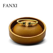 FANXI Jewelry Display Round Dish Support Wooden Earring Holder Ring Bracelet for Shop