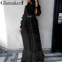 Glamaker Transparent mesh cascading ruffle maxi dress Women dot long sleeve autumn dress Elegant winter black casual vestido new