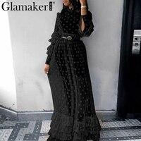 Glamaker Transparent mesh cascading ruffle maxi dress Women dot long sleeve autumn dress Elegant winter black casual vestido new