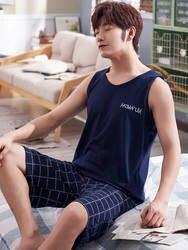 Мужские летние хлопковые шорты с коротким рукавом A203 для сна, Молодежные повседневные мужские шорты на весну и осень