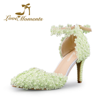 Sandals High Heels Women Pumps Sexy Style And Pointed Toe buckle strap green/red/white/ivory lace flower wedding shoes Summer