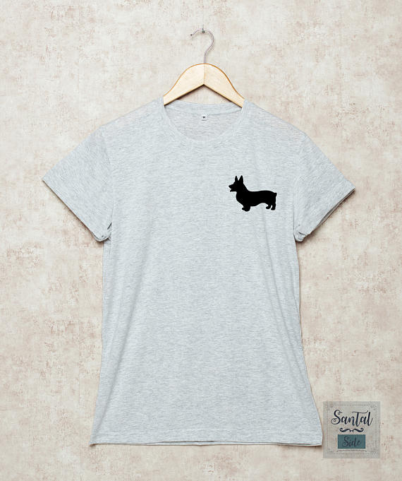 Corgi Shirt Corgi Tshirt Dog T-shirt Welsh Corgi Shirts Pocket Dog Lover Pet Grey -d156 Traveling