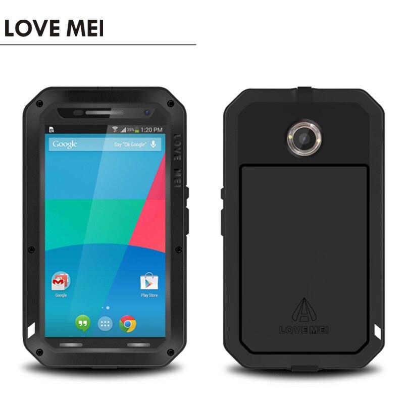 imágenes para Original Amor Mei Metal de Aluminio De Tierra Impermeable Caso de Gran Alcance Para Motorola Google Nexus 6 XT1100 XT1103 Cajas Del Teléfono