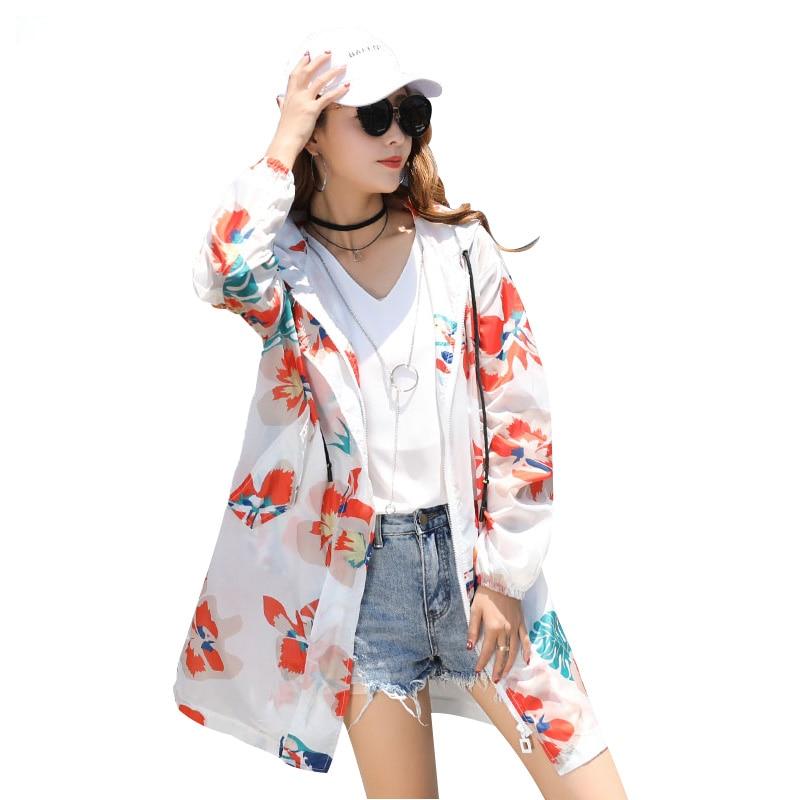 Été femme coupe-vent 2018 nouveau BF décontracté mince veste femmes coréen impression lâche Protection solaire vêtements mode chaud ZTT42