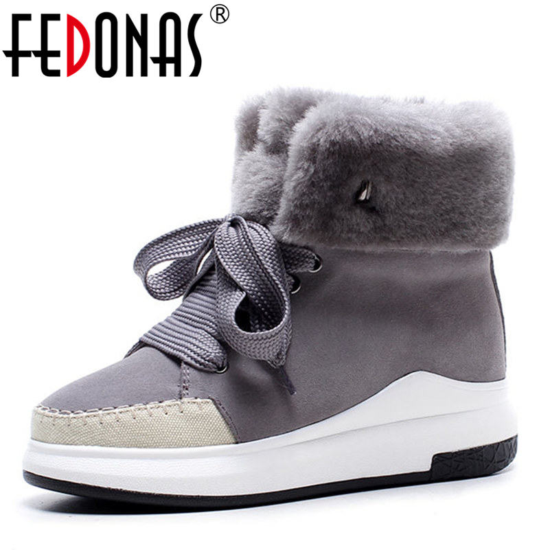 FEDONAS Women Cow Suede Genuine Leather Warm Plush Snow Boots Women Winter Wool+Plush Warm Shoes Woman Heels Casual Shoes yin qi shi man winter outdoor shoes hiking camping trip high top hiking boots cow leather durable female plush warm outdoor boot