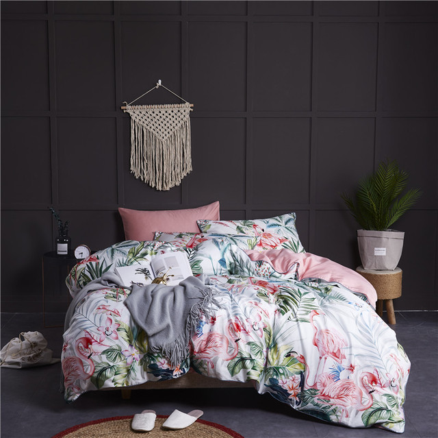Egyptian Cotton Soft Duvet Cover Fitted/Bed sheet set Flamingo Paisley Bedding Set Family set Twin Queen King size 4Pieces 4