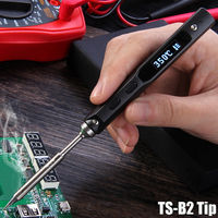 TS100 65W with B2 Solder Tip Mini Electric Soldering Iron Station Kit Digital LCD Programable Display Adjustable Temperature