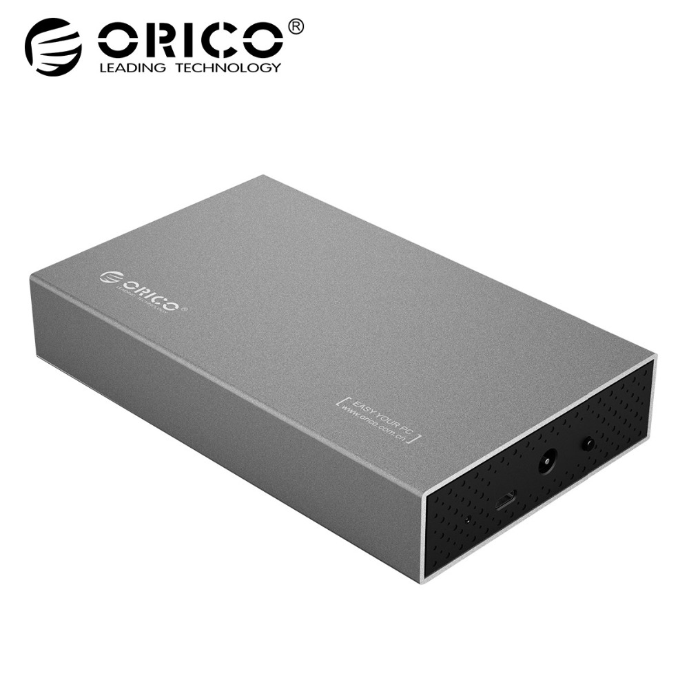 ORICO Aluminum 3.5 Type-C 5Gbps HDD Enclosure USB3.1 to SATA3.0 Hard Drive Disk Case Support UASP 8TB with 12V Power adapter orico 3 5 inch type c usb3 1 to sata3 0 external case hdd ssd hard drive disk enclosure dock storage box 5gbps detachable 8tb