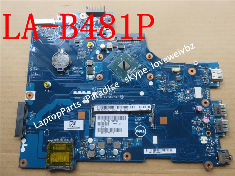 Free shipping For Dell Inspiron 15 3531 motherboard LA-B481P Y3PXH with pentium N3530 Cpu